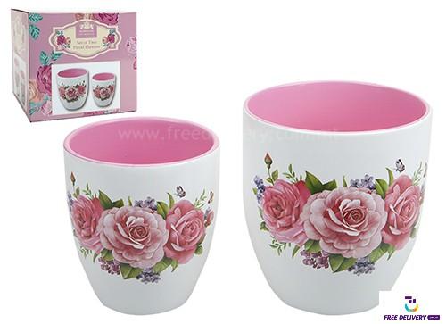 Set Of 2 Floral Vases Pms734032 Freedelivery