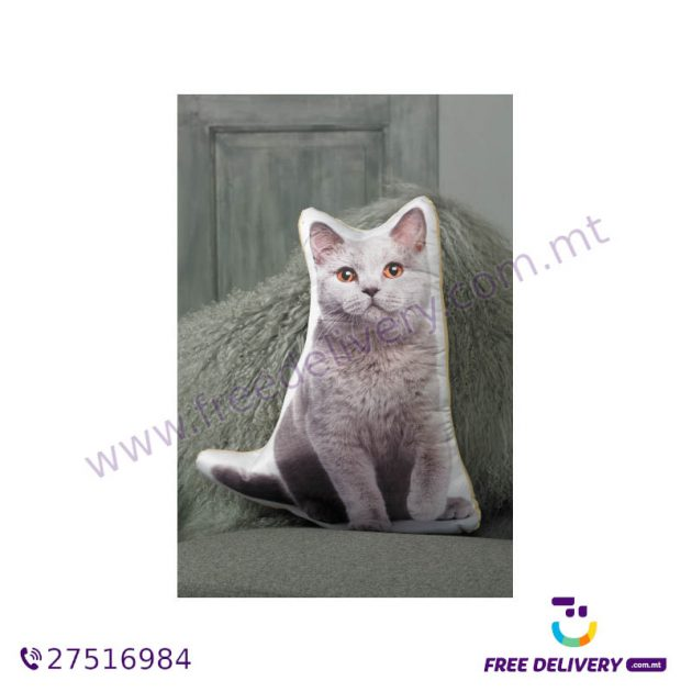 ADORABLE BRITISH BLUE CAT SHAPED CUSHION AC1026