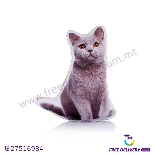 ADORABLE BRITISH BLUE CAT SHAPED MIDI CUSHION ACM1013