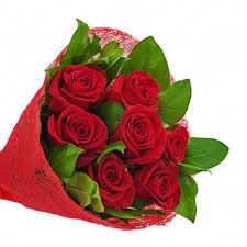 BOUQUET OF 7 FRESH RED ROSES IN SLEEVE