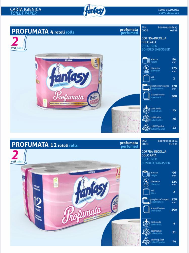 PERFUMED FANTASY TOILET PAPER. SPECIAL OFFER OF 5 PACKETS WITH 4 ROLLS EACH. (20 ROLLS IN TOTAL)