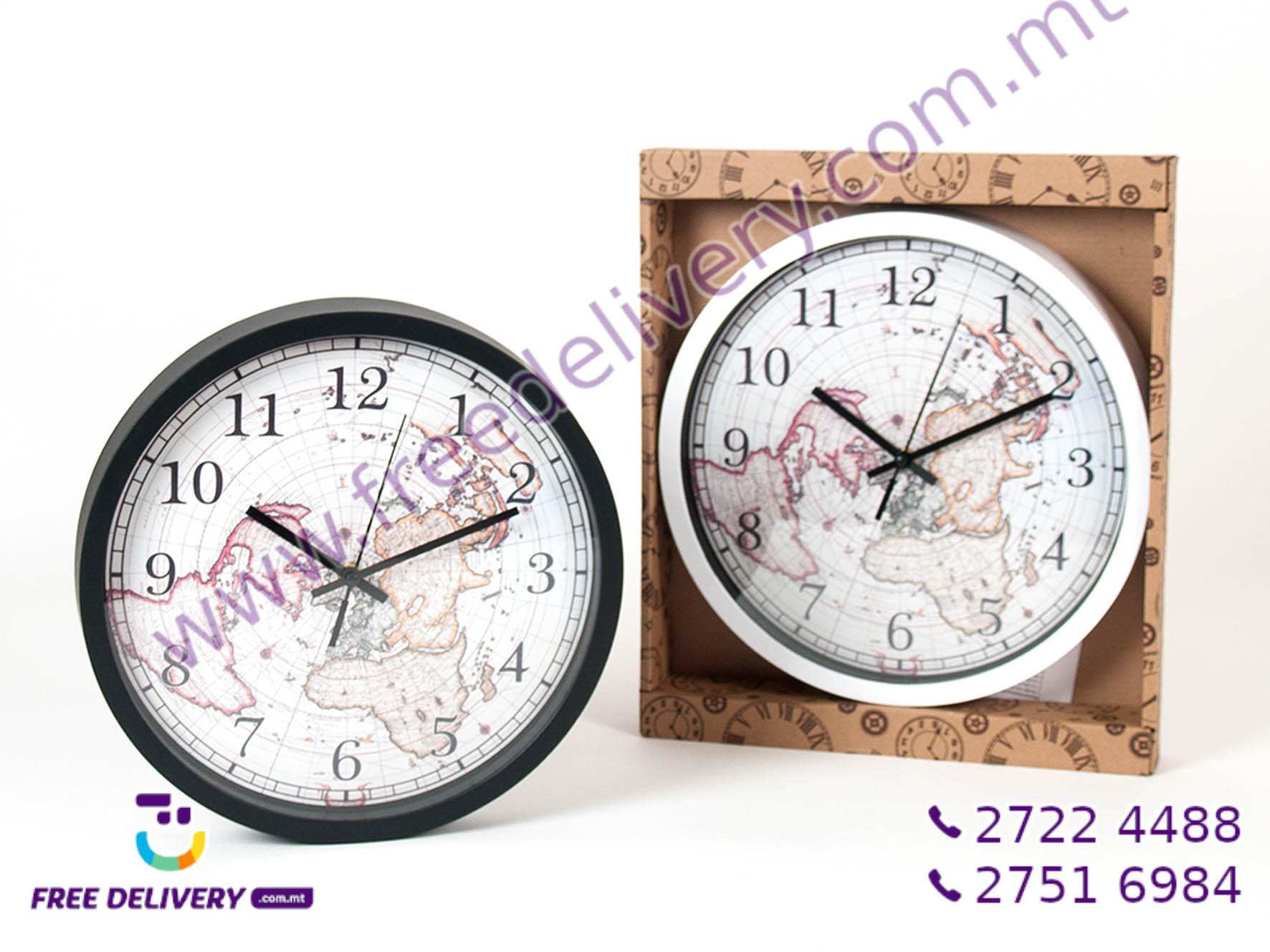 MAP WALL CLOCK 30.5CM GE758130