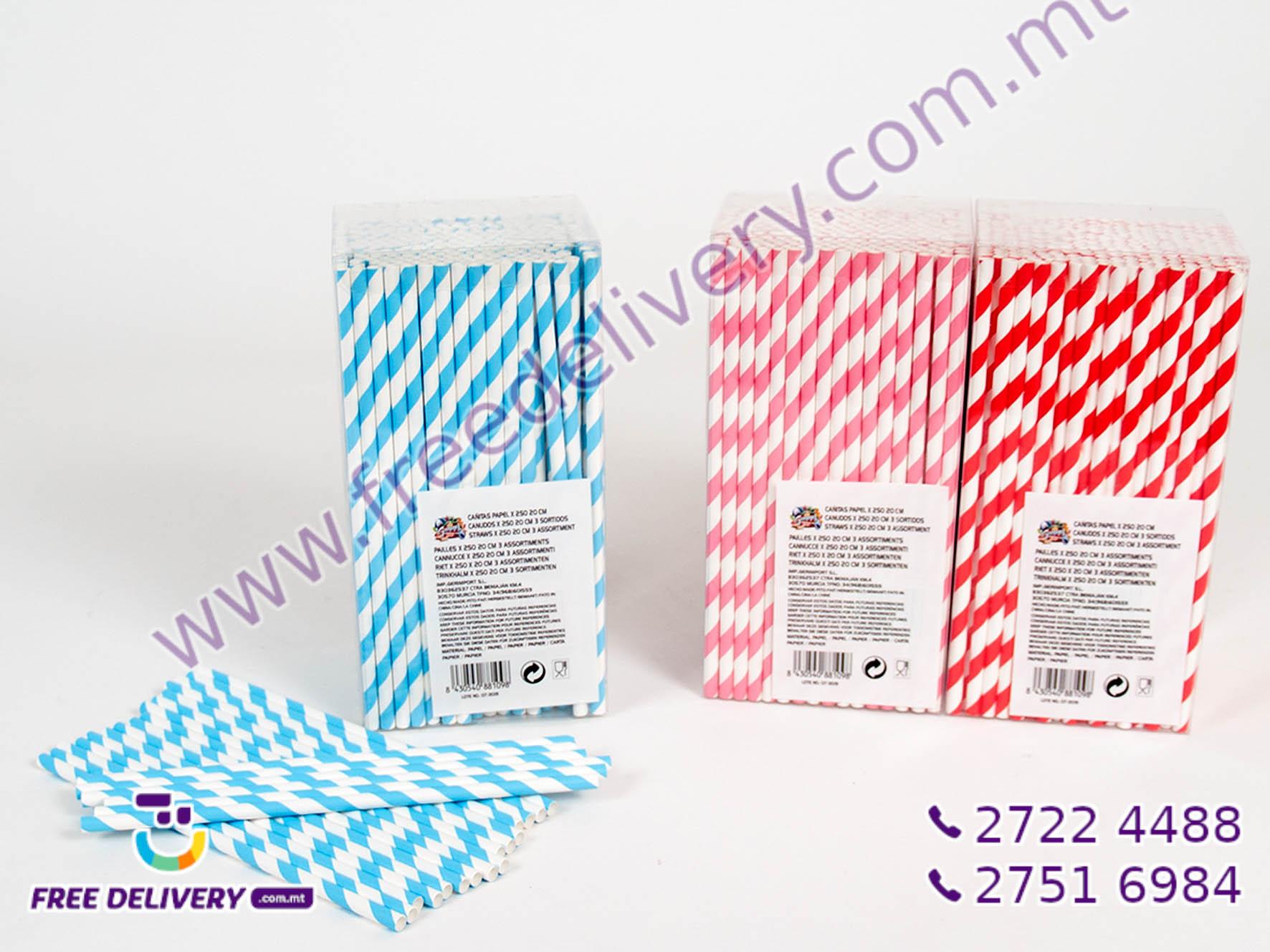 250 PAPER STRAW SET 20CMx0.6CM GE881098