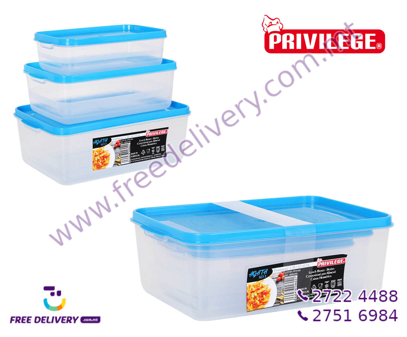 3 RECTANGULAR LUNCH BOXES SET IN246041