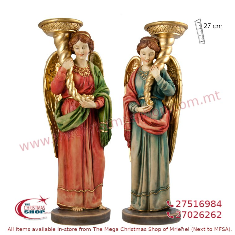 PAIR OF 2 STANDING ANGELS WITH CANDLE HOLDER. JA162667