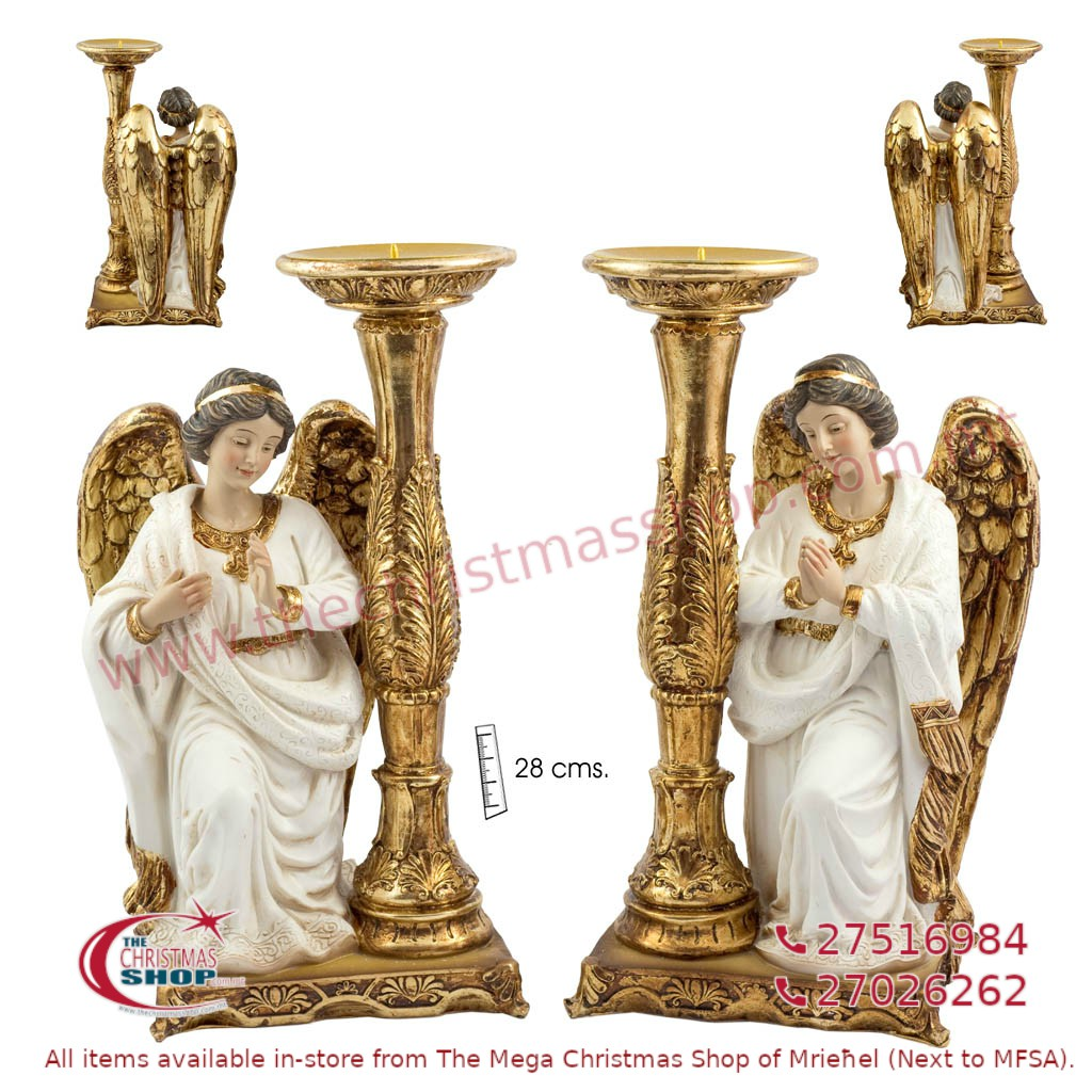 PAIR OF 2 KNEELING ANGELS WITH CANDLE HOLDER. JA193418