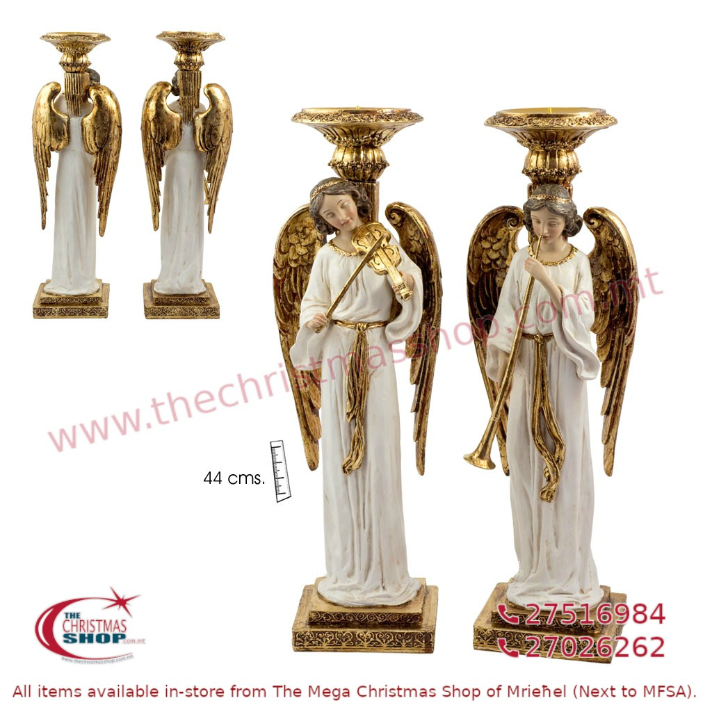 PAIR OF 2 STANDING ANGELS WITH MUSICAL INSTRUMENTS. JA193425