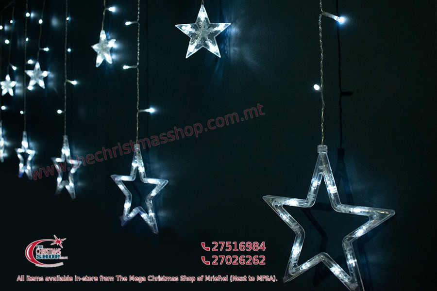 138 WARM WHITE LED CURTAIN WITH STARS. SIZE 3 METERS BY 1 METER. INDOOR AND OUTDOOR USE. PAR566292