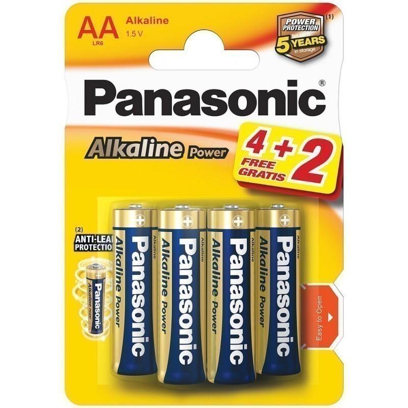 PANASONIC ALKALINE AA BATTERIES 4 PLUS 2 FREE. NEC040958