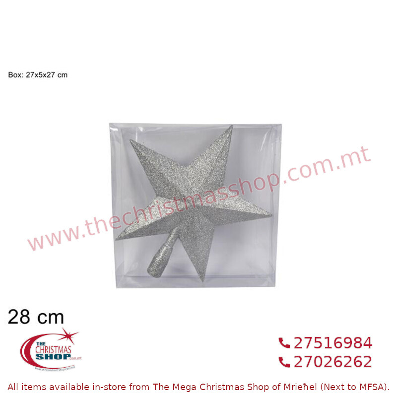 28CM SILVER GLITTERED STAR TREE TOP. DE542213