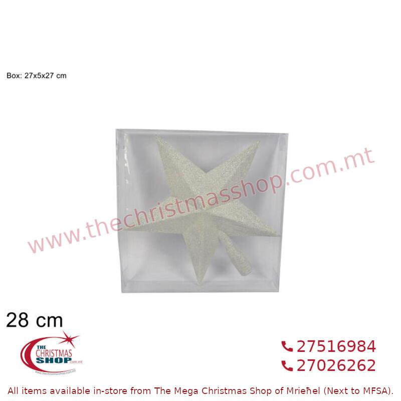 28CM WHITE GLITTERED STAR TREE TOP. DE542220