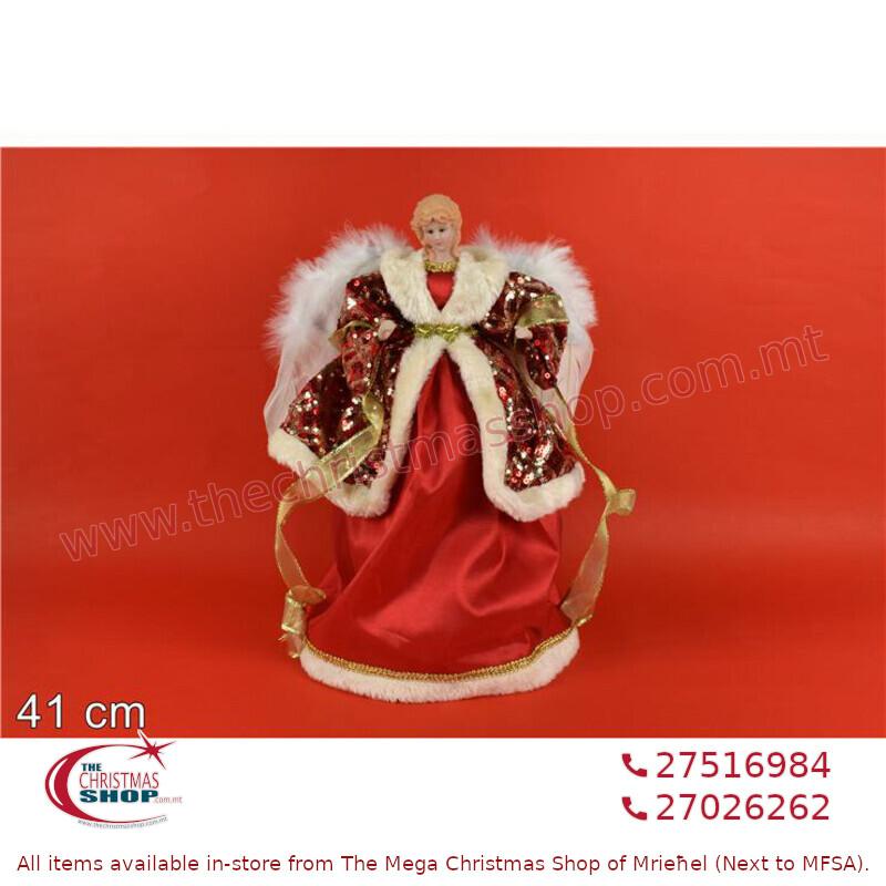 41CM ANGEL W/ RED DRESS TREE TOP. DE758584