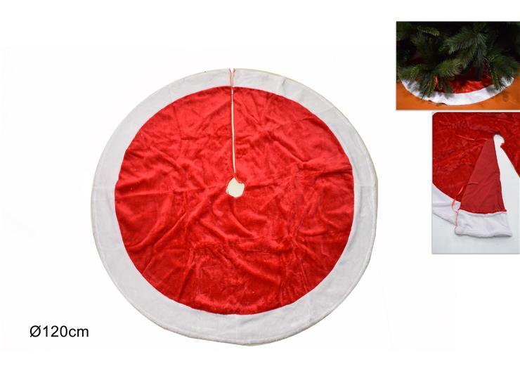 120CM RED & WHITE FUR CHRISTMAS TREE SKIRT. DE034881