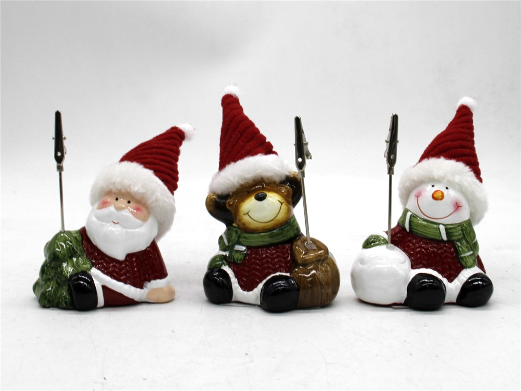 SITTING SANTA SNOWMAN WITH CLIP. GE788380