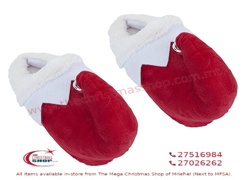 KIDS ELF RED AND WHITE SLIPPERS. 500091