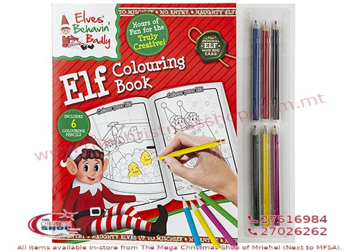 ELF COLOURING BOOK WITH 6 MINI PENCILS. 500140