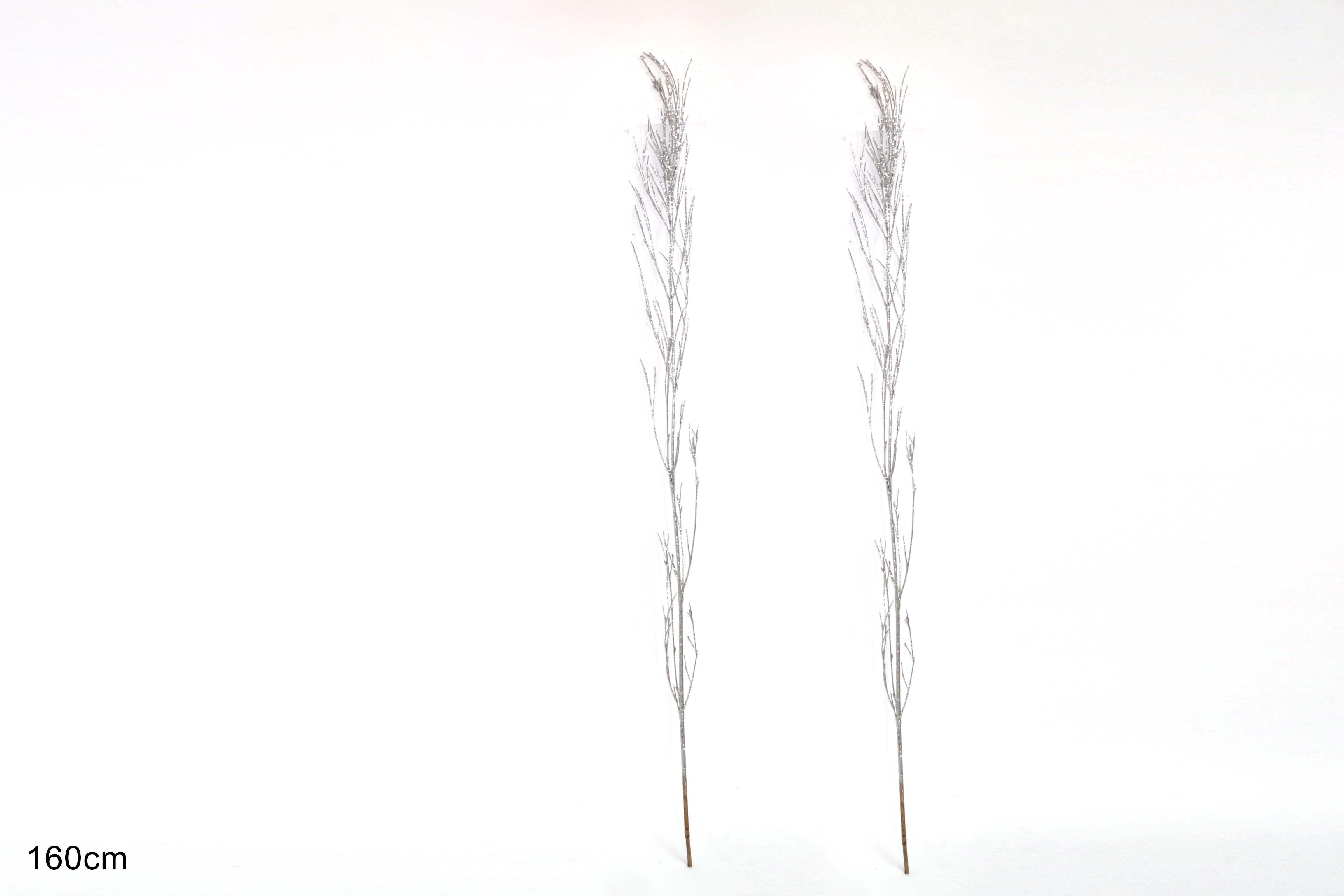SILVER GLITTERED CANE DECORATION. DE022291