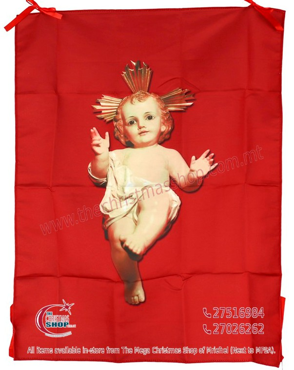 BABY JESUS RED BANNER. IDEAL FOR BALCONY AND OUTSIDE USE