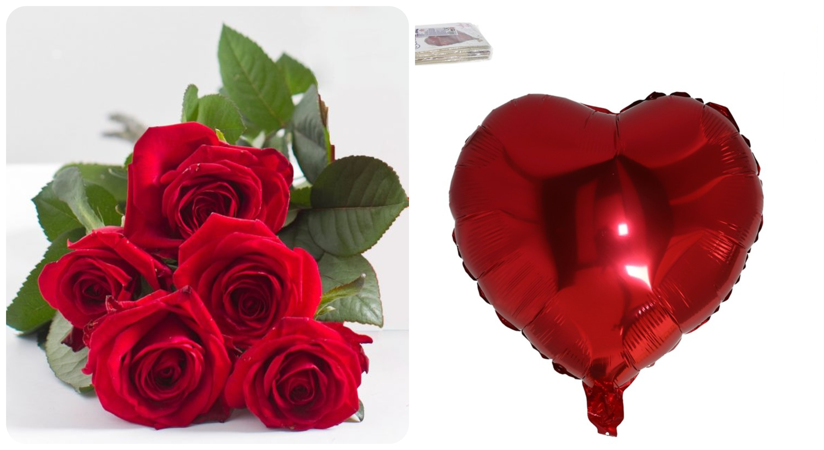 BOUQUET OF 5 FRESH ROSES WITH HELIUM BALLOON.