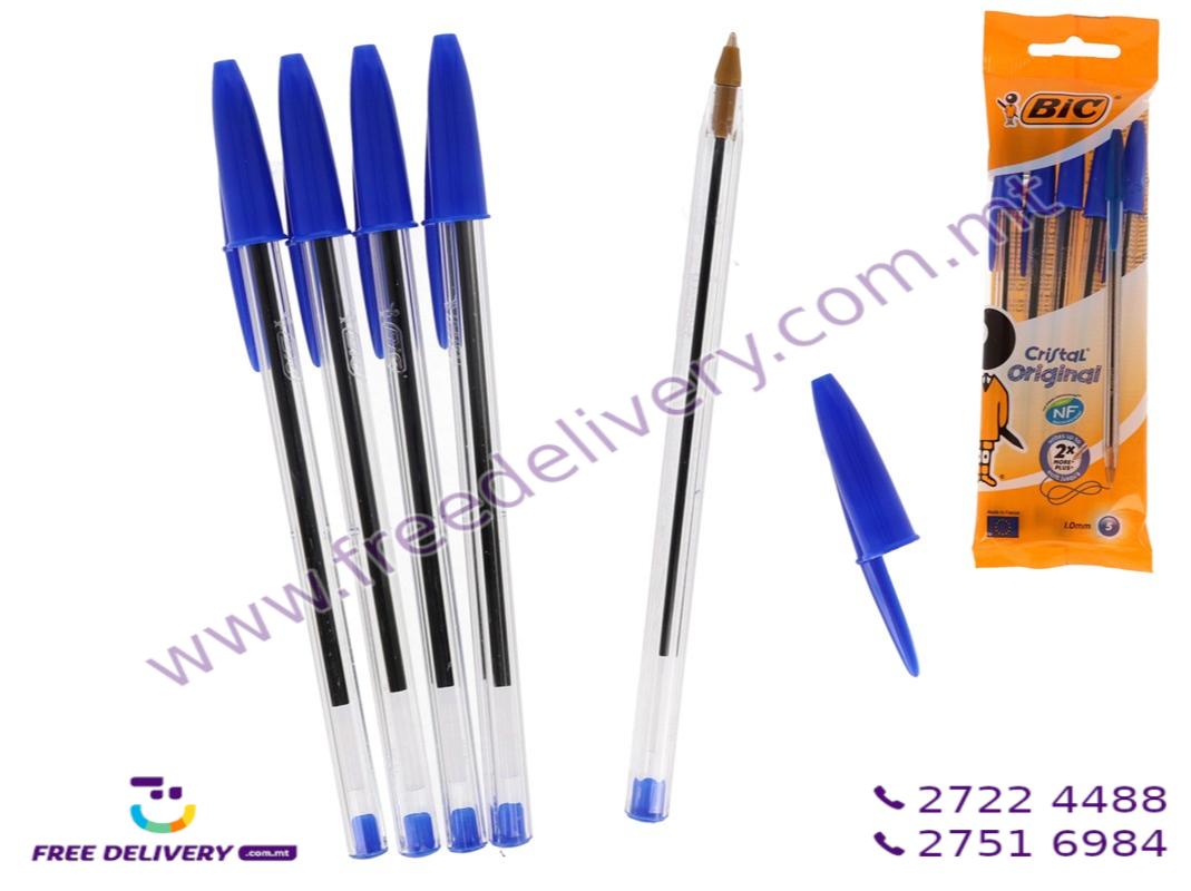 BIC CRYSTAL BLUE BALL PEN. PACKET OF 5. GE100749