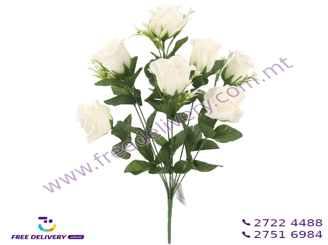 BUNCH OF 9 WHITE ROSES. GE891271