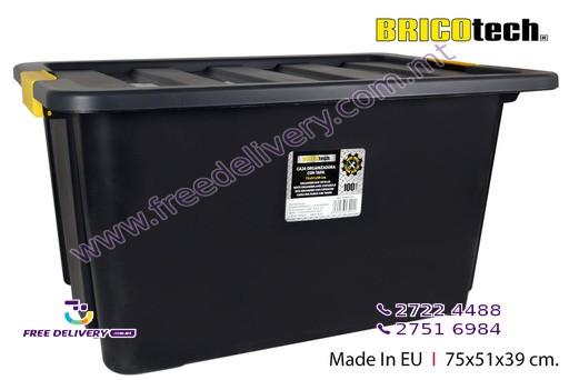 BLACK PLASTIC STORAGE BOX 100L IN239012