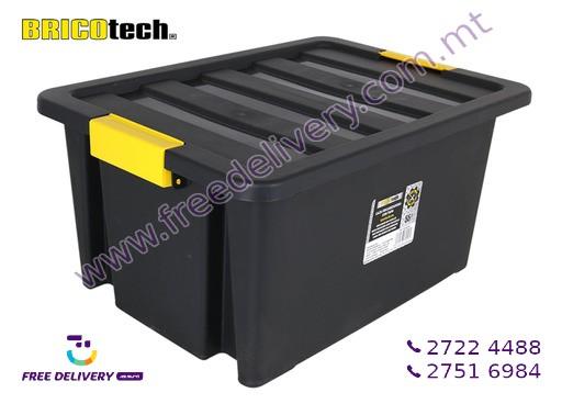 BLACK PLASTIC STORAGE BOX 55L IN239005