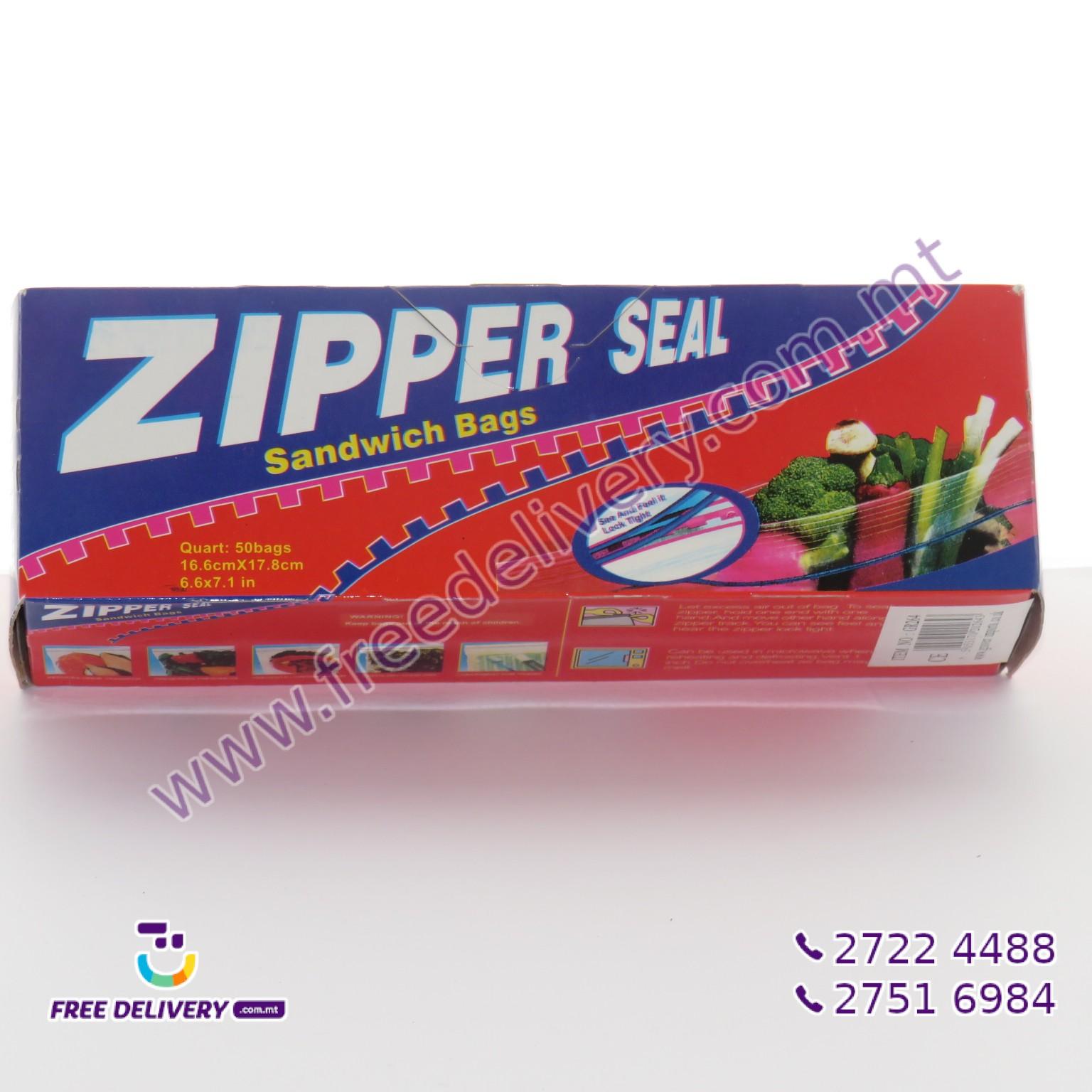 50 ZIPPER SEAL SANDWICH BAGS 16.6 X 17.8CM – MISC202643