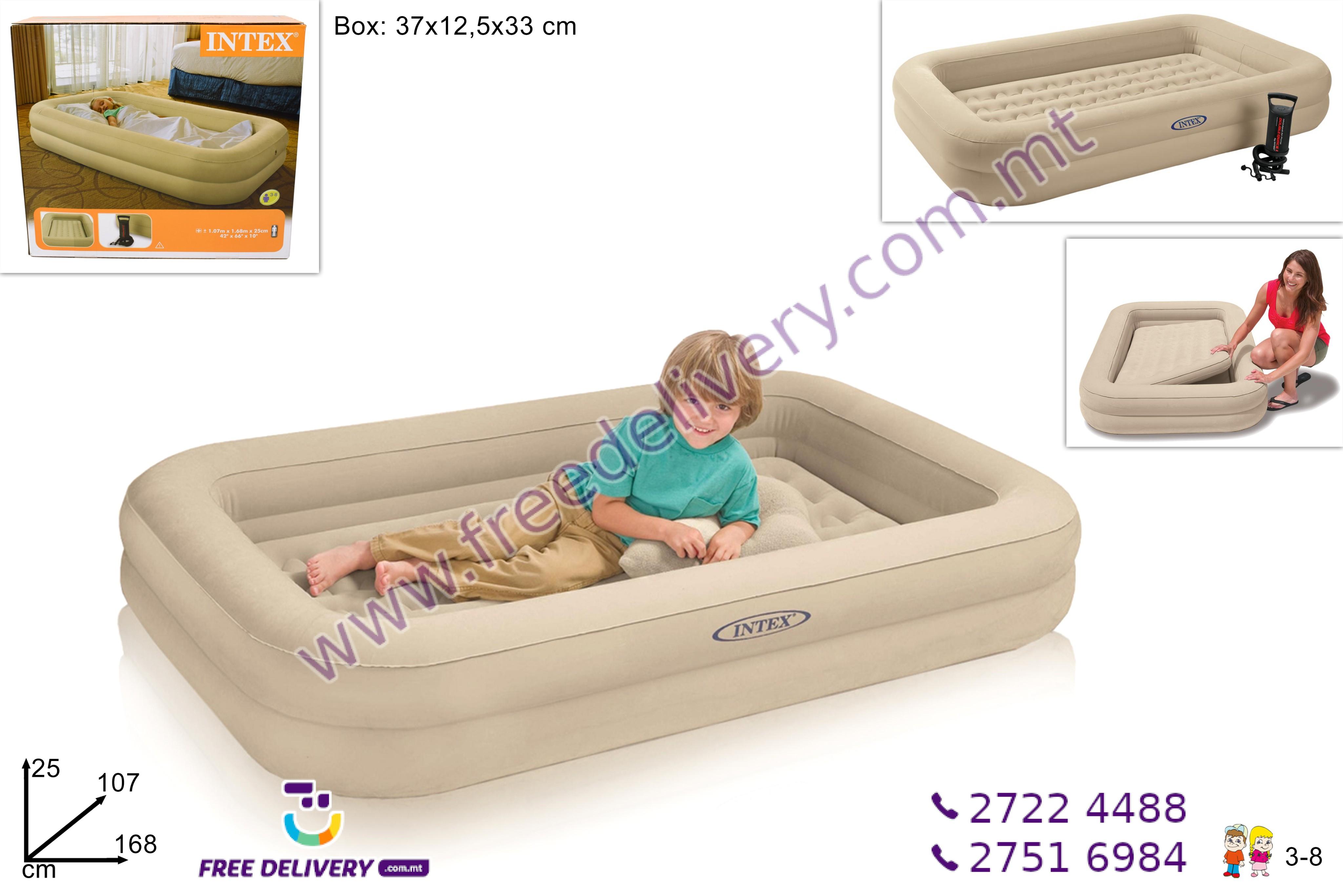INTEX INFLATABLE KIDS TRAVEL BED SET 107 X 168 X 25CM INCLUDING HAND PUMP – DE468105