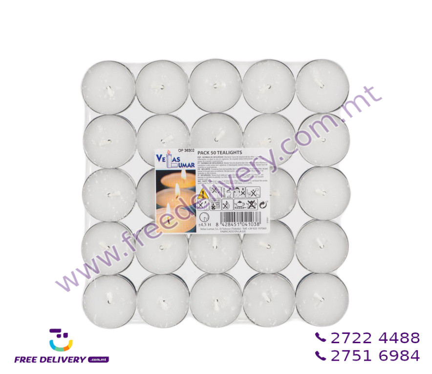 PACKET OF 50 TEALIGHTS. 4.5 HOURS. VM041038