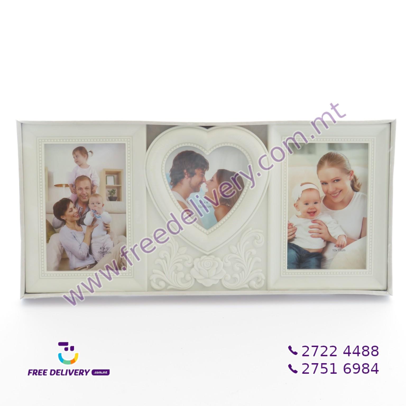 PHOTO FRAME – HOLDS 3 PICTURES 'HEART SHAPE' 10 X 15CM – JLS600635