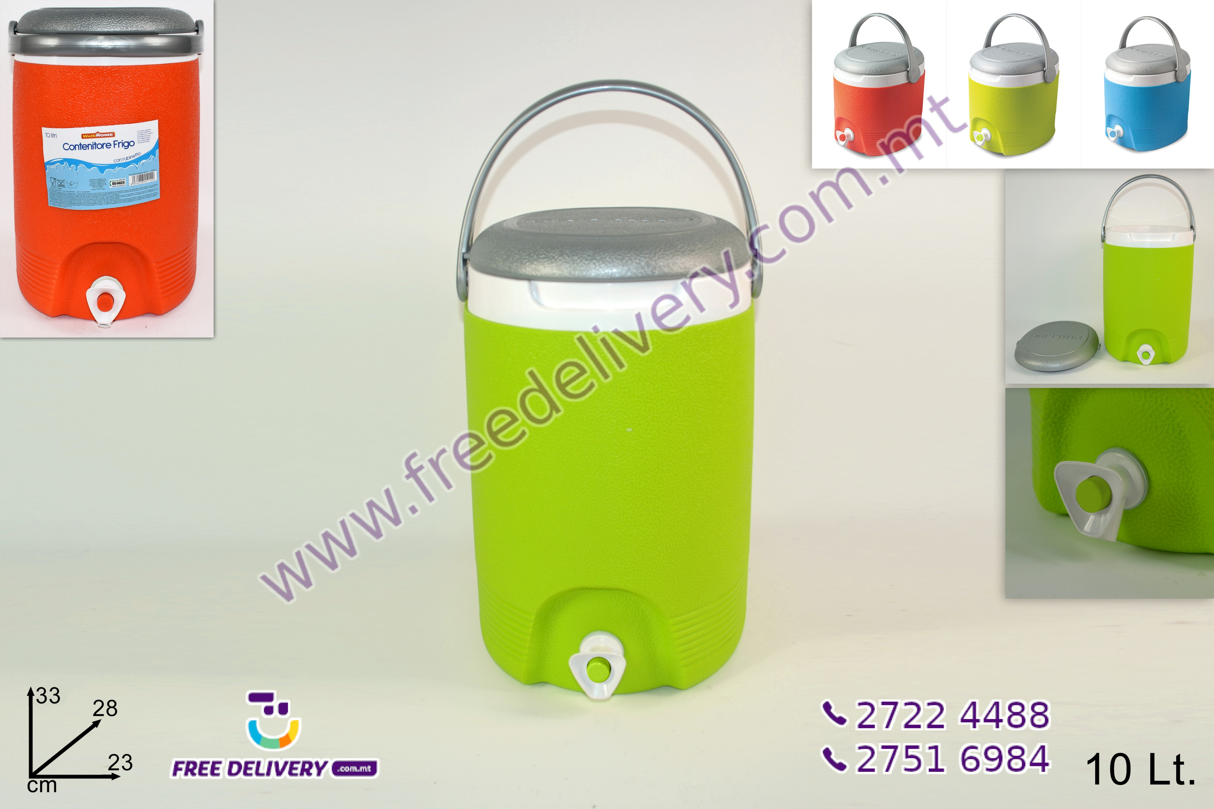 10L COOLER CONTAINER WITH TAP IN 3 COLORS – DE451120