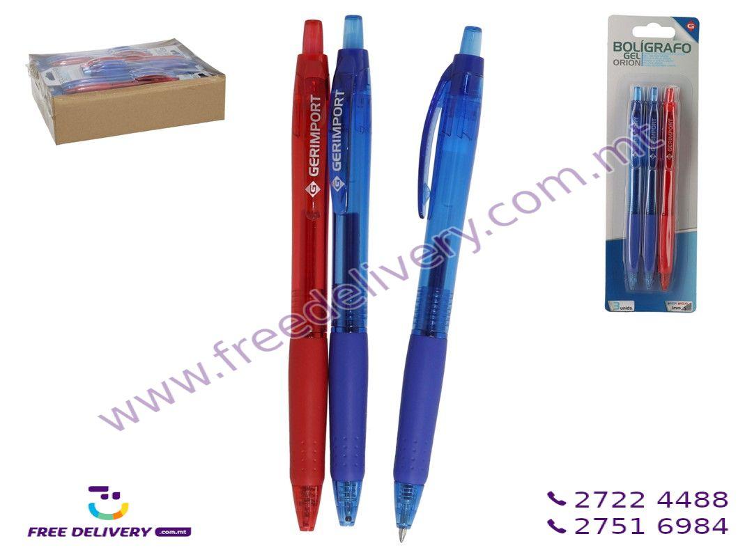 GEL PENS 1MM 14.5CM BLUE/RED 3PIECES – GE965446