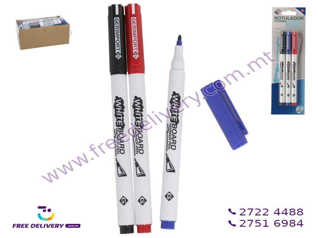WHITEBOARD MARKER 14CM BLACK/BLUE/RED 3 PIECES – GE965521