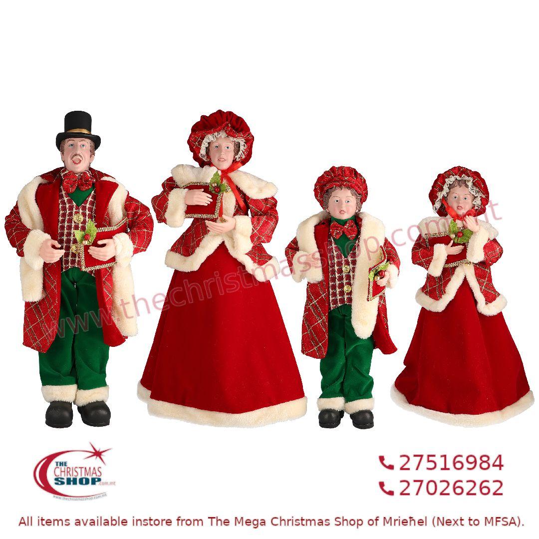 4 PIECE CHRISTMAS CAROLLER FAMILY FIGURINE SET RED/GREEN (SET OF 4) – TI205121