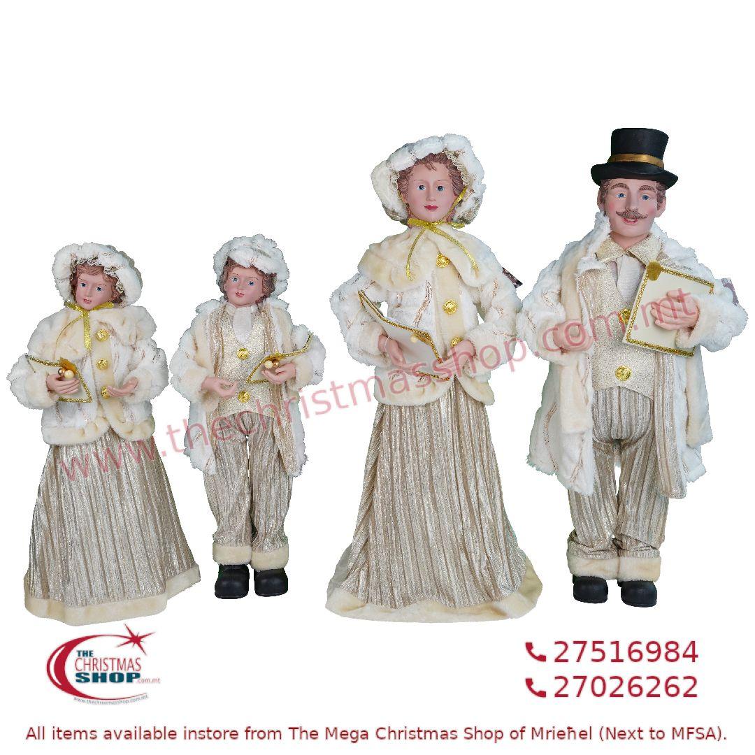 4 PIECE CHRISTMAS CAROLLER FAMILY FIGURINE SET IVORY/GOLD (SET OF 4) – TI205145