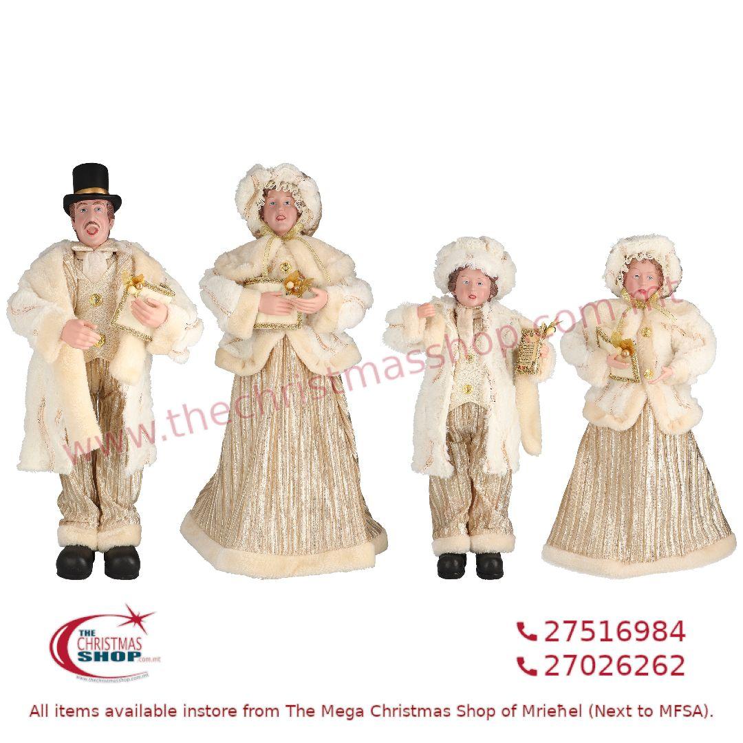 4 PIECE CHRISTMAS CAROLLER FAMILY FIGURINE SET IVORY/GOLD (SET OF 4) – TI205152