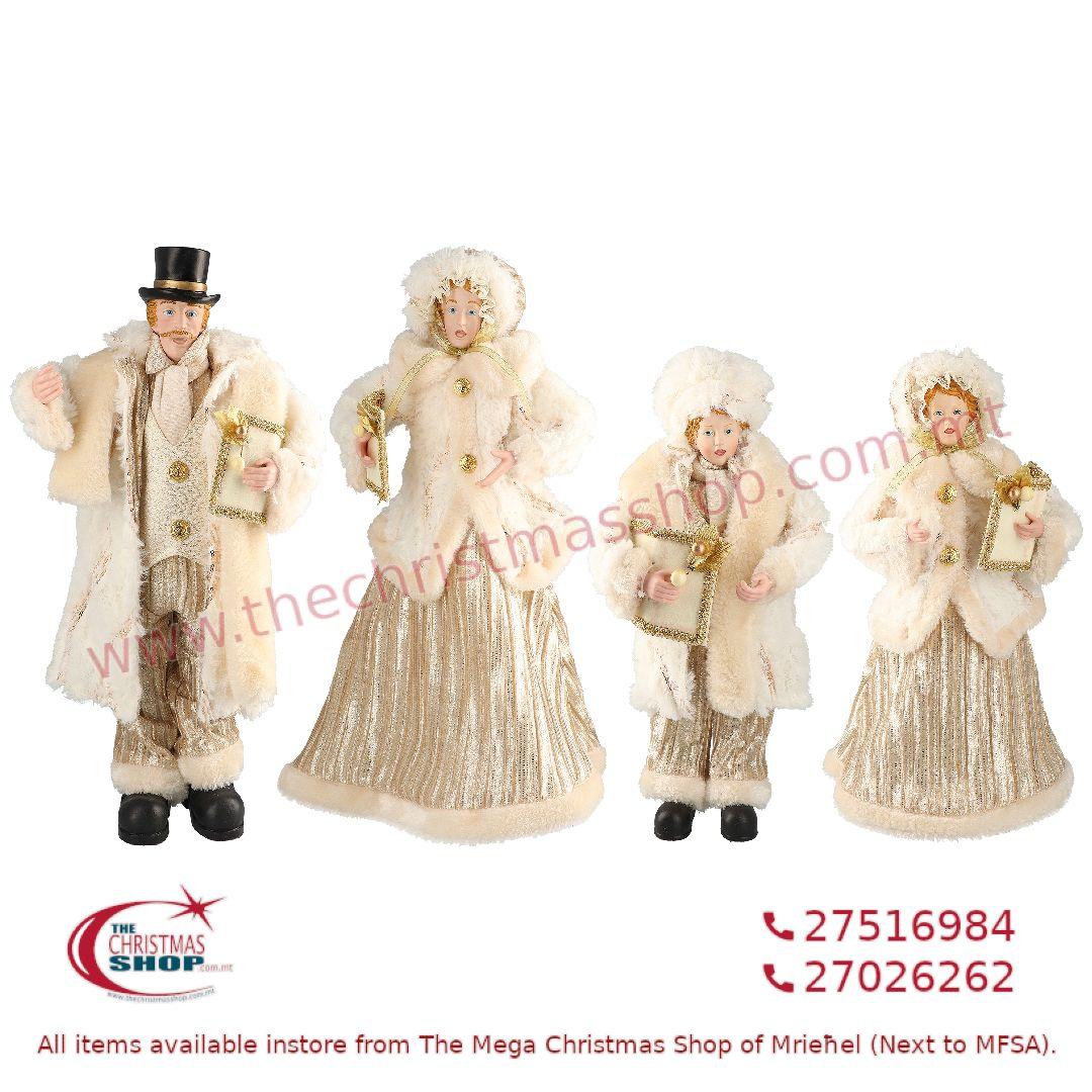 4 PIECE CHRISTMAS CAROLLER FAMILY FIGURINE SET GOLD (SET OF 4) – TI205169