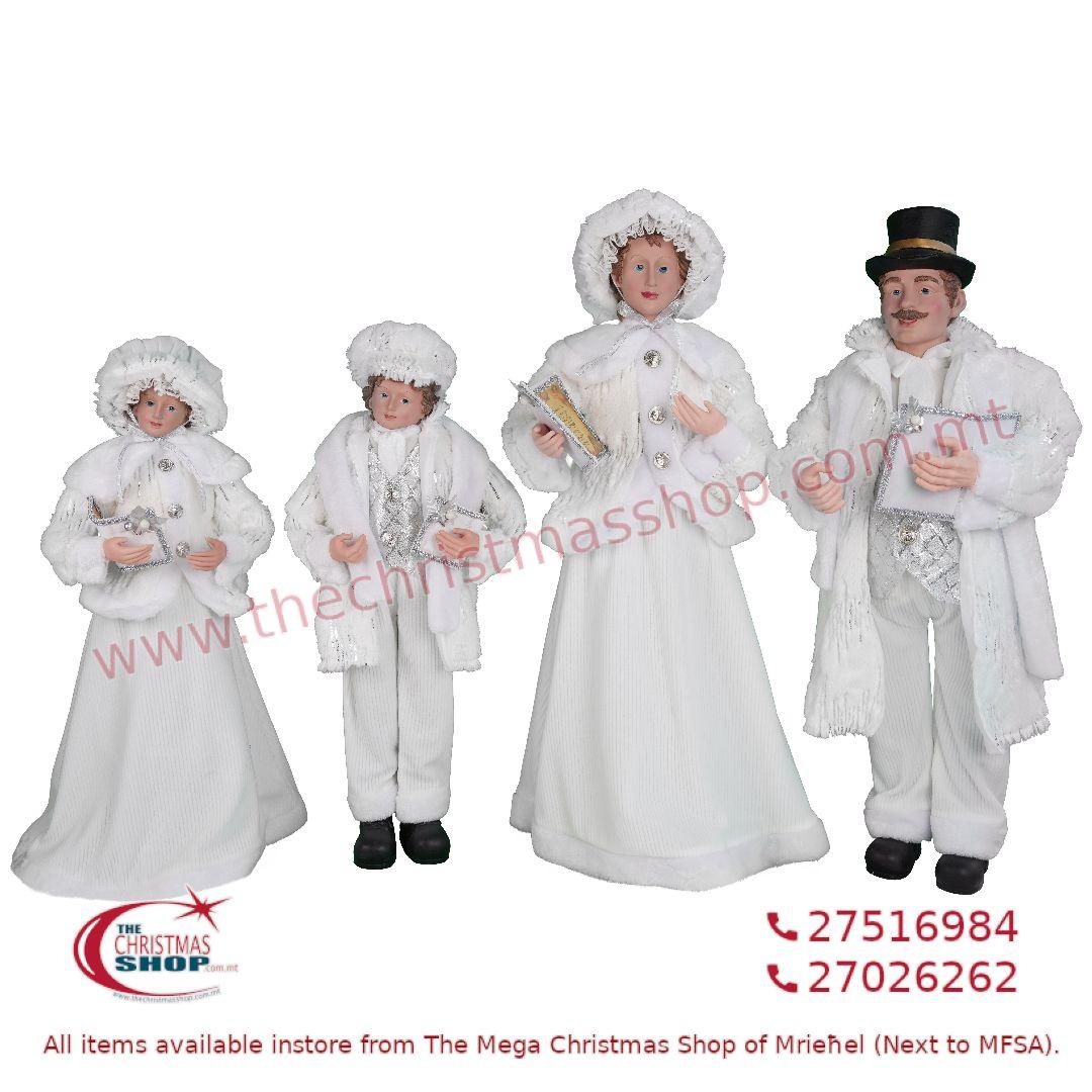4 PIECE CHRISTMAS CAROLLER FAMILY FIGURINE SET SILVER/WHITE (SET OF 4) – TI205176