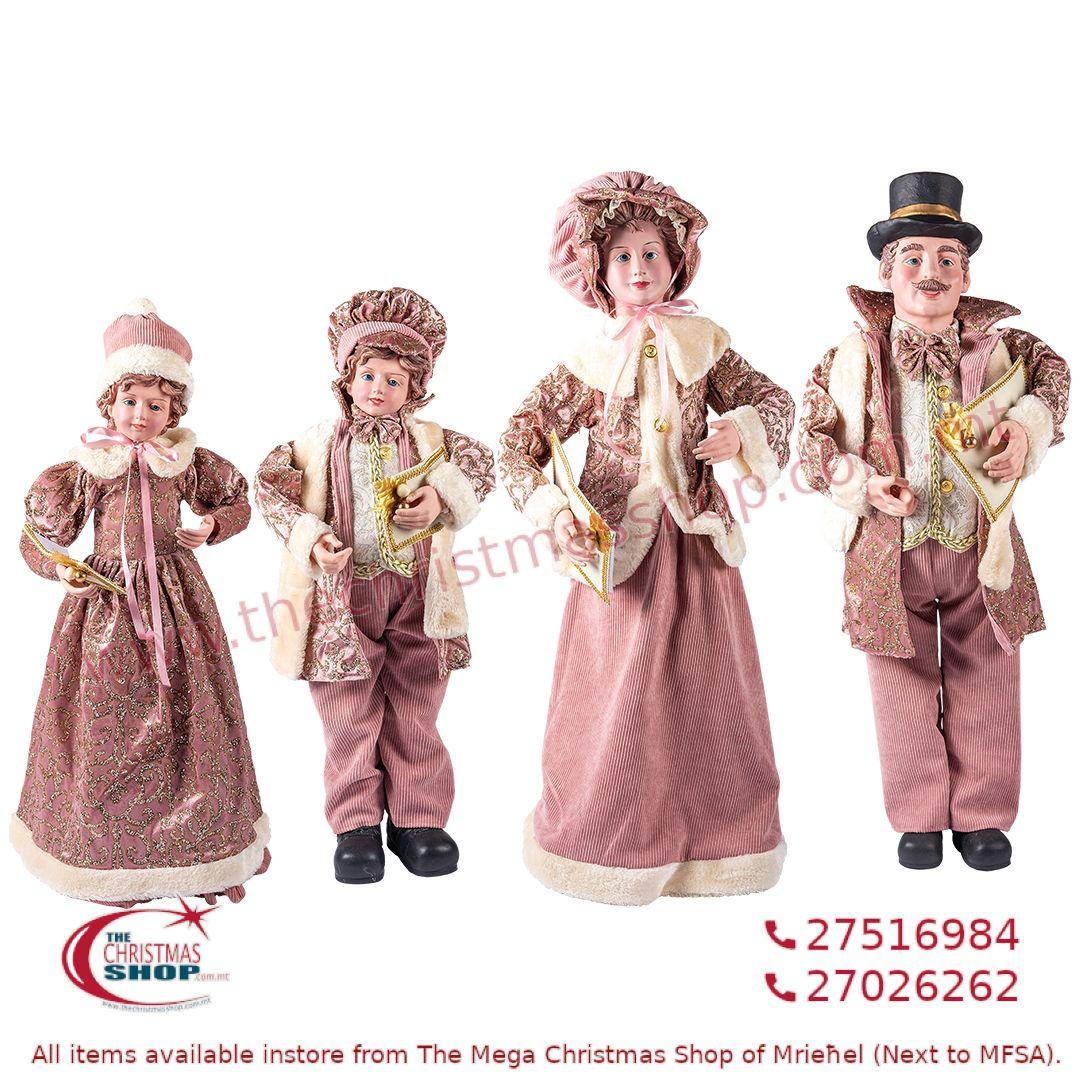 4 PIECE CHRISTMAS CAROLLER FAMILY FIGURINE SET OLD PINK (SET OF 4) – TI217094