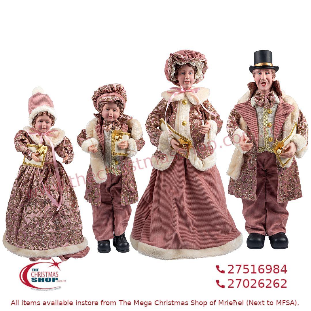 4 PIECE CHRISTMAS CAROLLER FAMILY FIGURINE SET OLD PINK (SET OF 4) – TI217100