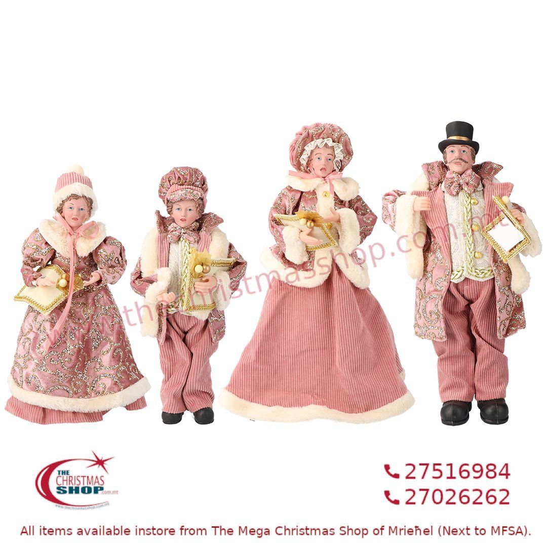 4 PIECE CHRISTMAS CAROLLER FAMILY FIGURINE SET OLD PINK (SET OF 4) – TI217117