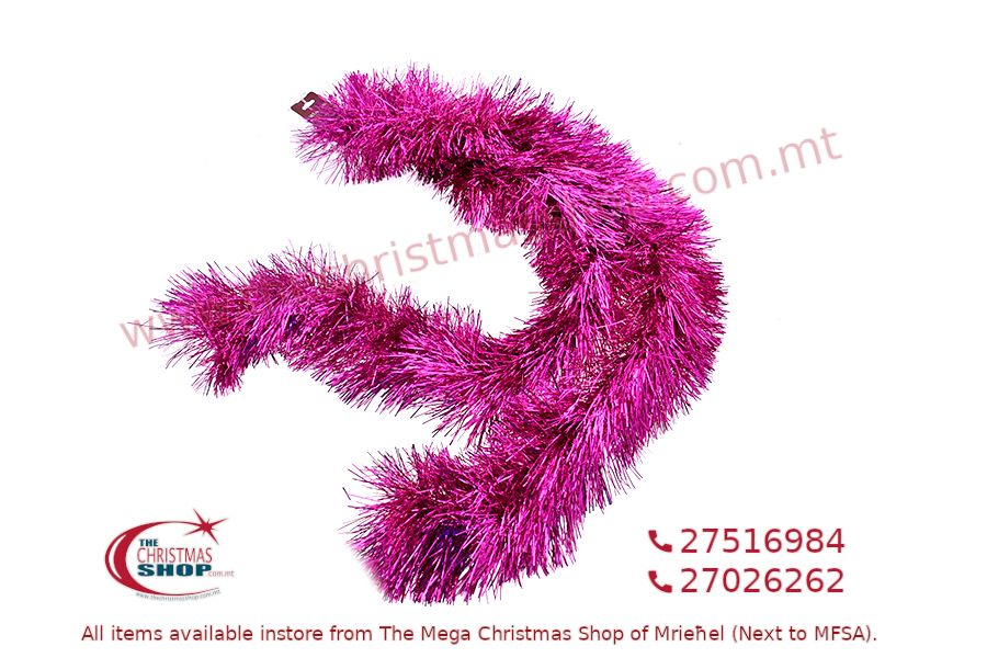 2M. D15CM CHRISTMAS TINSEL GARLAND FOR CHRISTMAS TREE AND HOME DECORATIONS (FUXIA). PAR081788