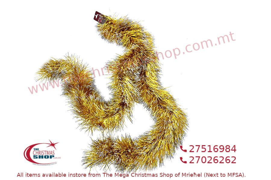 2M. D15CM CHRISTMAS TINSEL GARLAND FOR CHRISTMAS TREE AND HOME DECORATIONS (GOLD). PAR699891