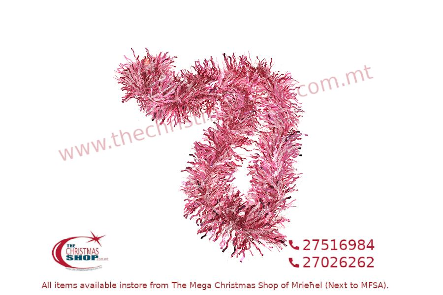 2M. D15CM CHRISTMAS TINSEL GARLAND FOR CHRISTMAS TREE AND HOME DECORATIONS (PINK). PAR700016