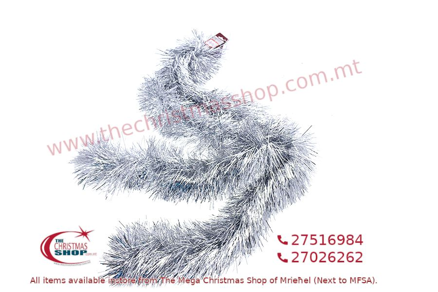 2M. D13CM CHRISTMAS TINSEL GARLAND FOR CHRISTMAS TREE AND HOME DECORATIONS (SILVER). PAR701426