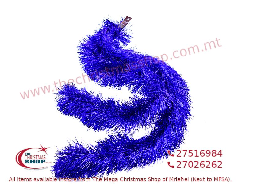 2M. D13CM CHRISTMAS TINSEL GARLAND FOR CHRISTMAS TREE AND HOME DECORATIONS (BLUE). PAR701433
