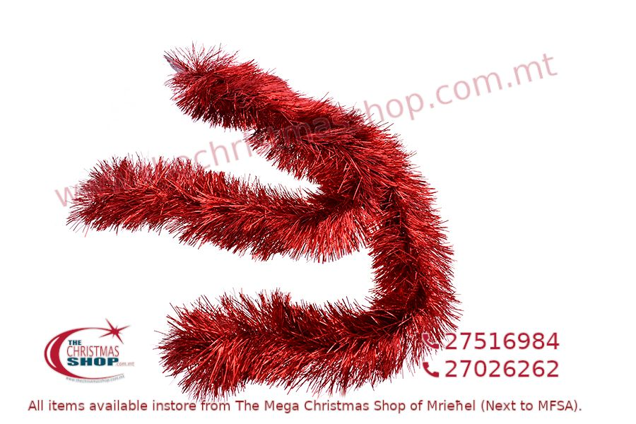 2M. D13CM CHRISTMAS TINSEL GARLAND FOR CHRISTMAS TREE AND HOME DECORATIONS (RED).PAR701440
