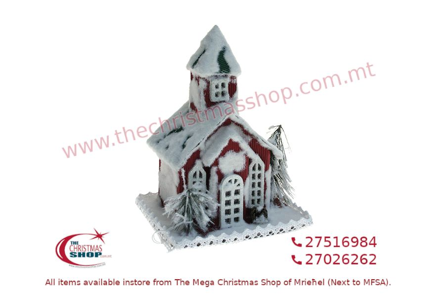 CHRISTMAS RED HOUSE ORNAMENT WITH LIGHT AND SOUND 20 X 16 X 19CM. PAR801291