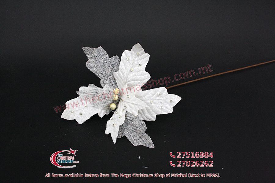 CHRISTMAS DECORATIONS LONG STEM FLOWER SILVER. PAR565100